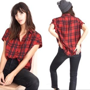 Madewell Central Shirt Red Black Plaid Cotton